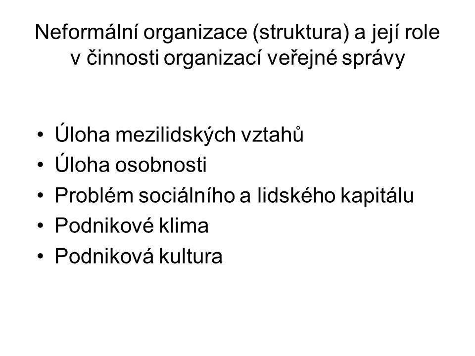 Neformální organizace (struktura) a její role v činnosti organizací veřejné správy