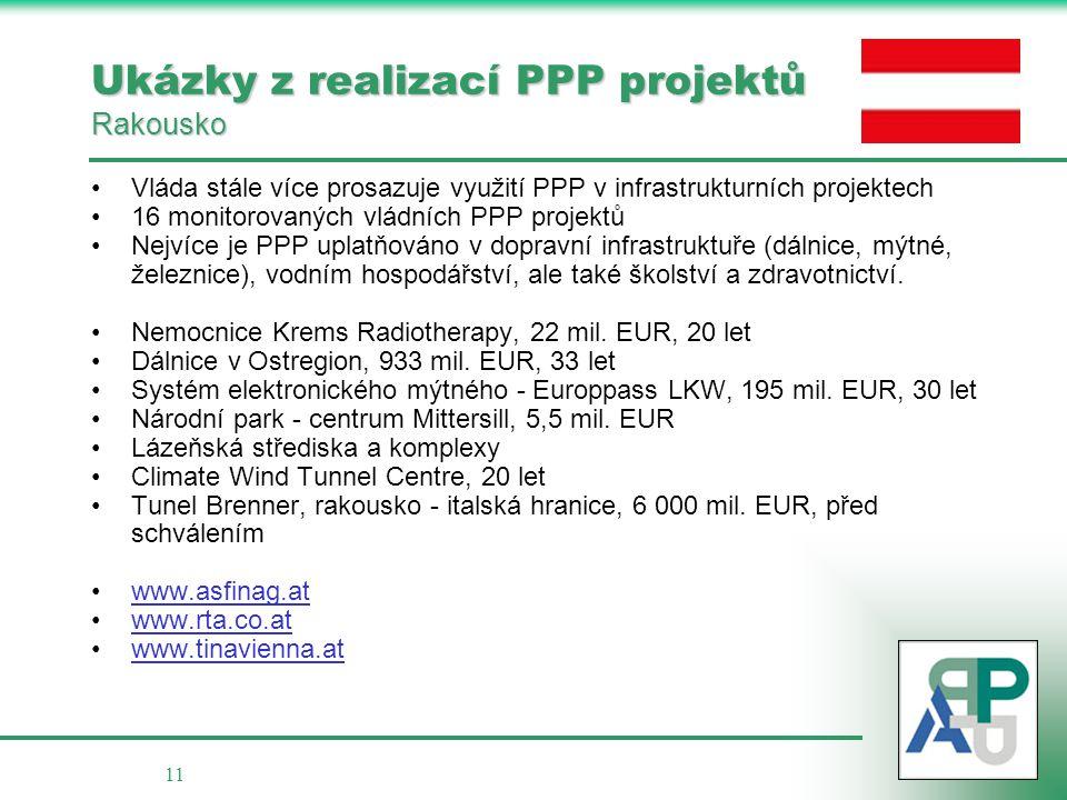 Ukázky z realizací PPP projektů Rakousko