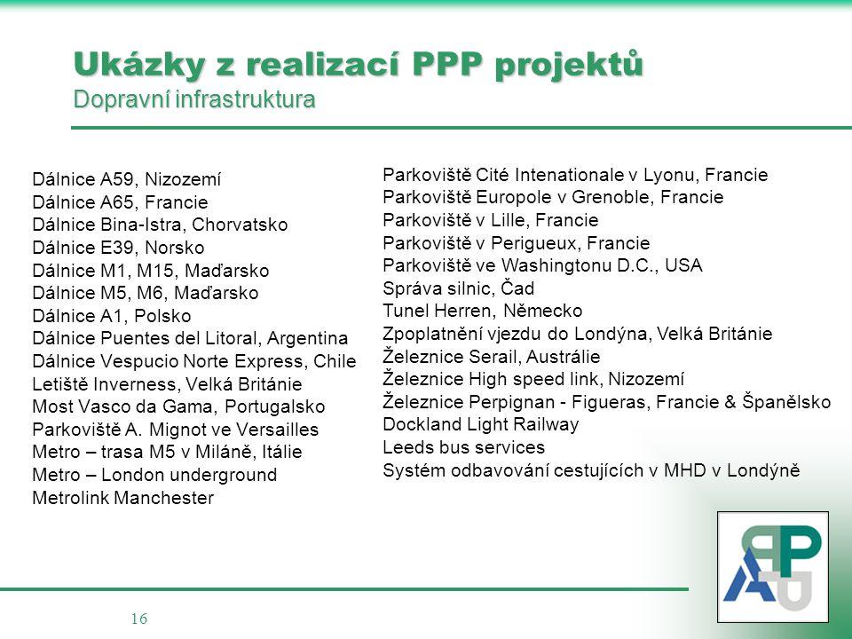 Ukázky z realizací PPP projektů Dopravní infrastruktura