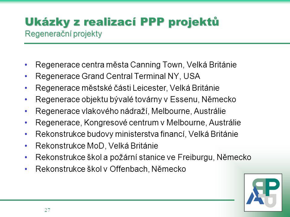 Ukázky z realizací PPP projektů Regenerační projekty