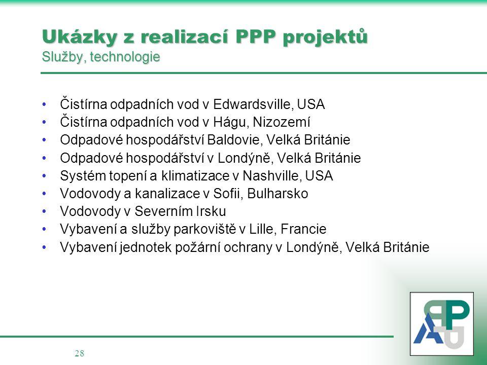 Ukázky z realizací PPP projektů Služby, technologie