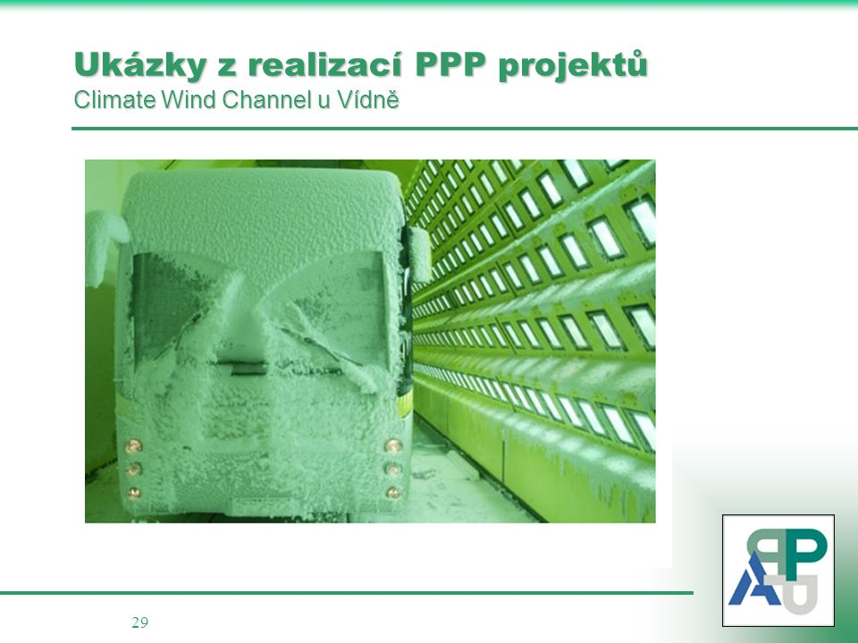 Ukázky z realizací PPP projektů Climate Wind Channel u Vídně