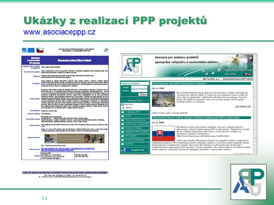 Ukázky z realizací PPP projektů www.asociaceppp.cz