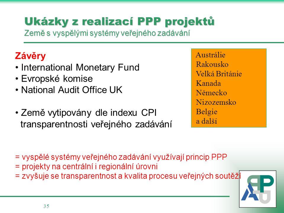Ukázky z realizací PPP projektů Země s vyspělými systémy veřejného zadávání
