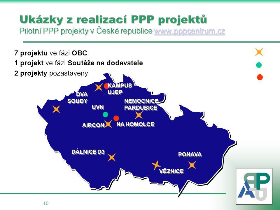 Ukázky z realizací PPP projektů Pilotní PPP projekty v České republice www.pppcentrum.cz