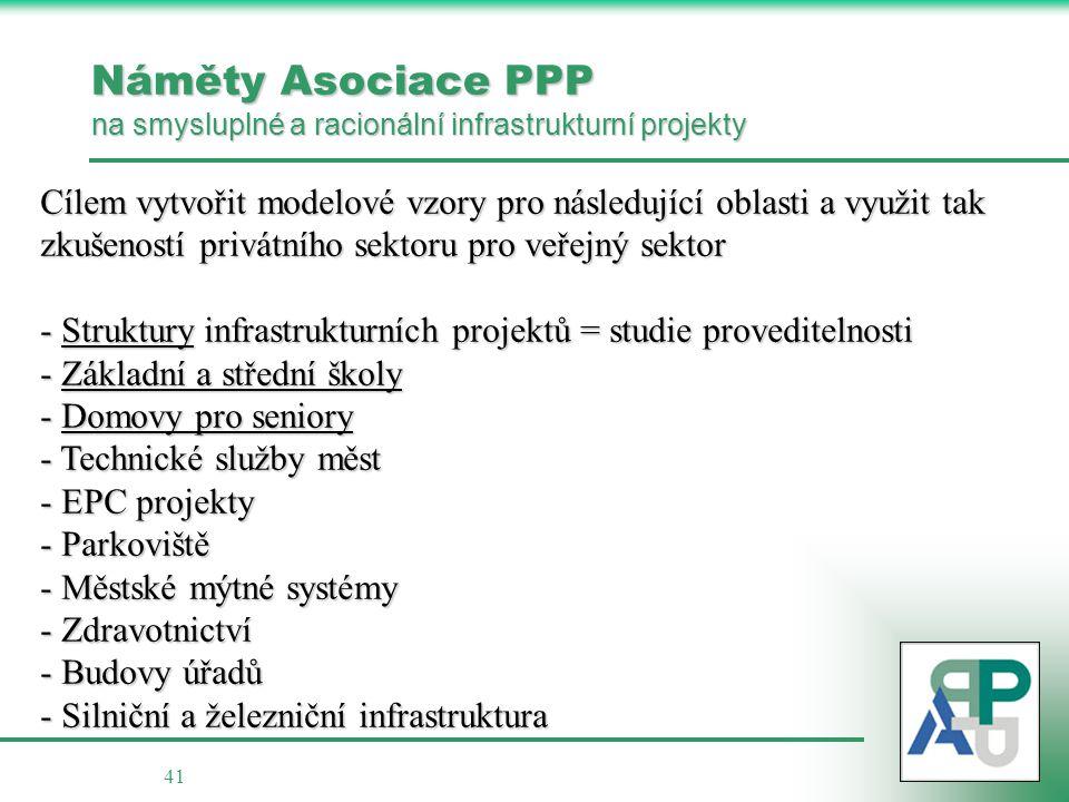 Náměty Asociace PPP na smysluplné a racionální infrastrukturní projekty