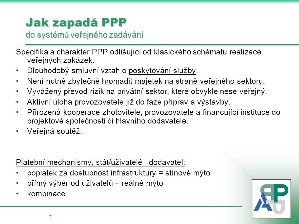 Jak zapadá PPP do systémů veřejného zadávání