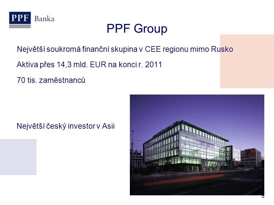 PPF Group Největší soukromá finanční skupina v CEE regionu mimo Rusko
