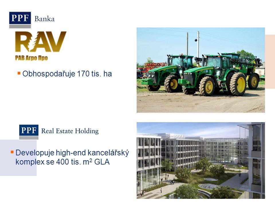 Obhospodařuje 170 tis. ha Developuje high-end kancelářský komplex se 400 tis. m2 GLA