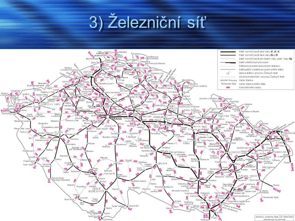 3) Železniční síť