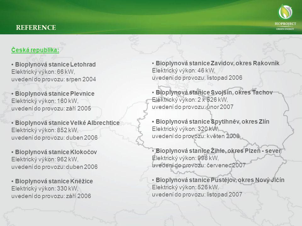 REFERENCE Česká republika: • Bioplynová stanice Letohrad