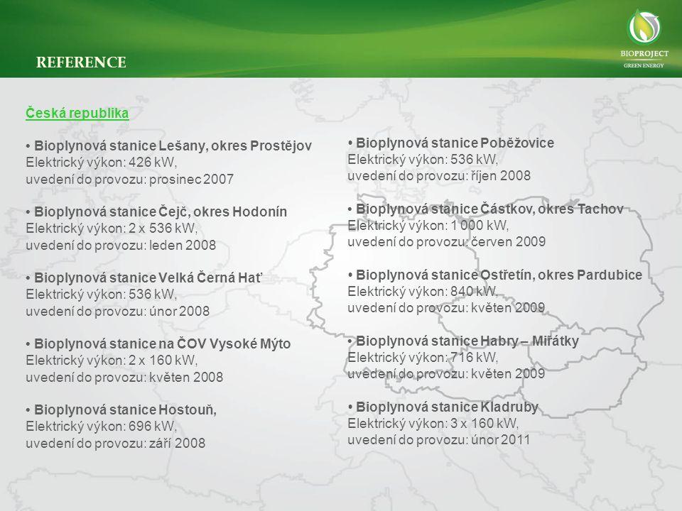 REFERENCE Česká republika • Bioplynová stanice Lešany, okres Prostějov