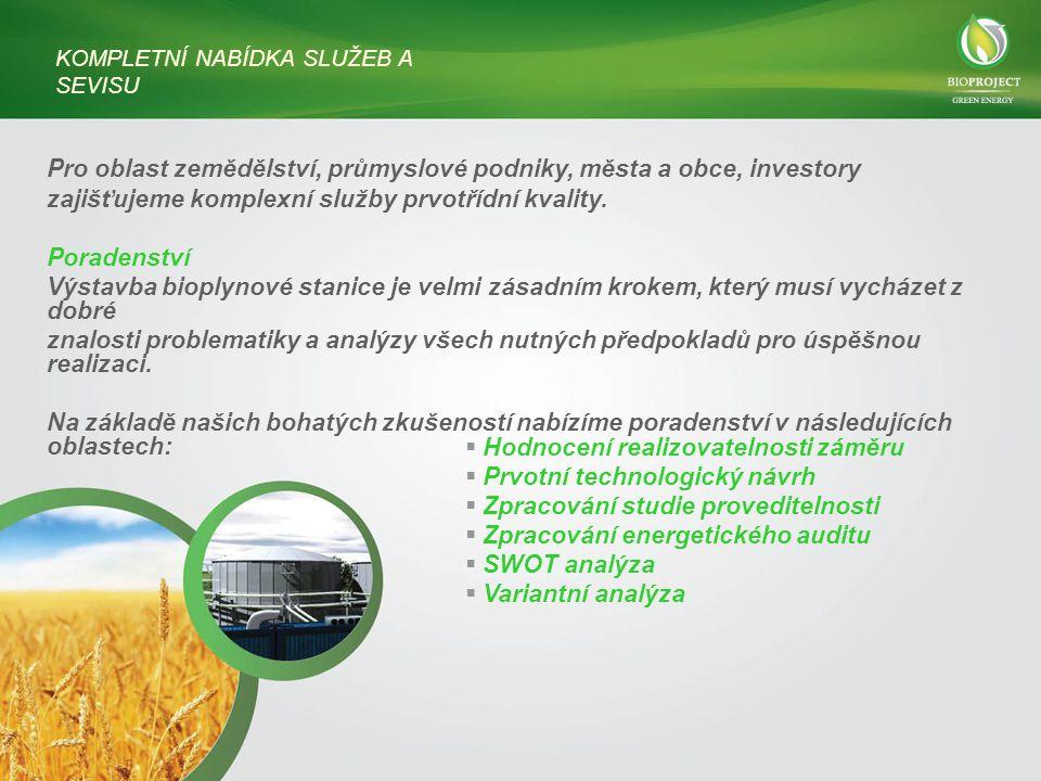 Pro oblast zemědělství, průmyslové podniky, města a obce, investory