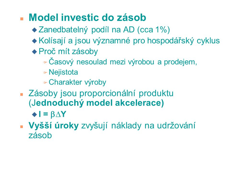 Model investic do zásob