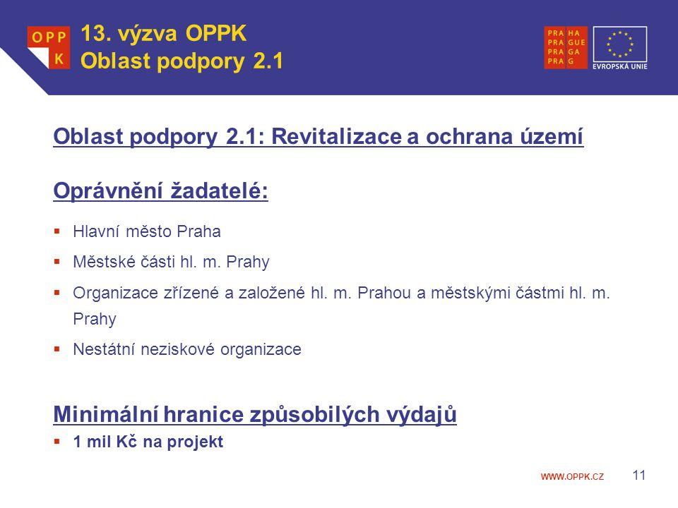 Oblast podpory 2.1: Revitalizace a ochrana území Oprávnění žadatelé: