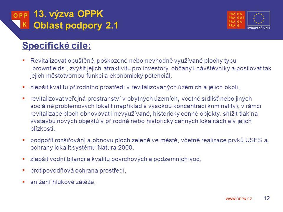 13. výzva OPPK Oblast podpory 2.1 Specifické cíle: