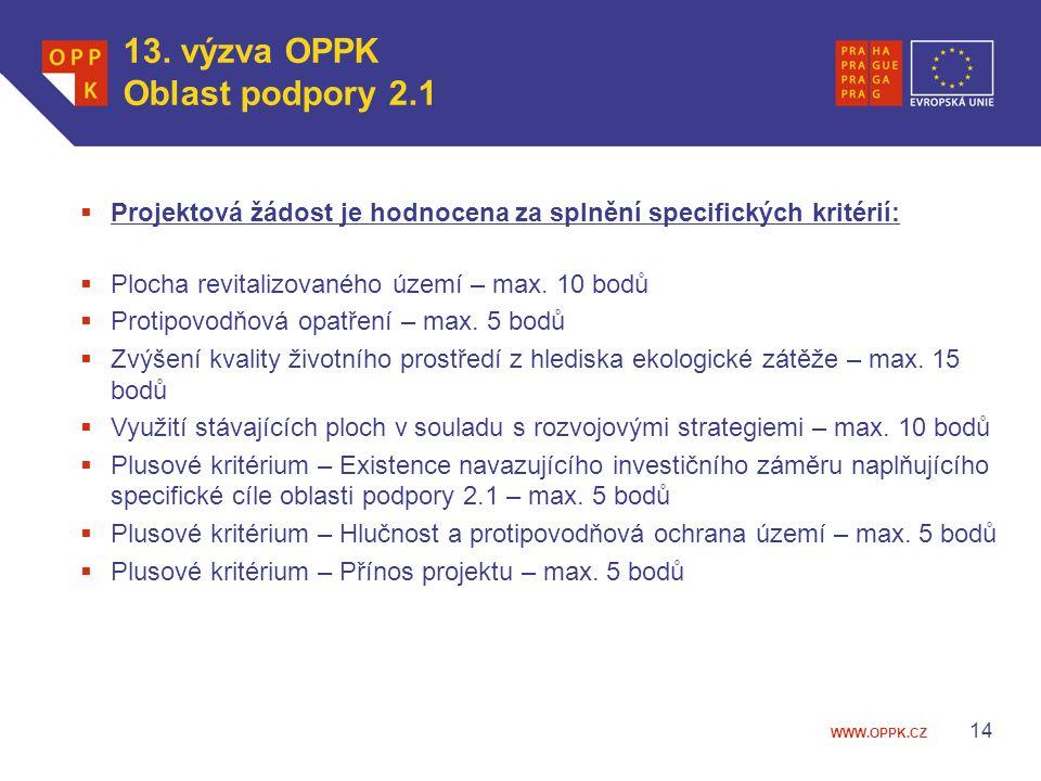 13. výzva OPPK Oblast podpory 2.1