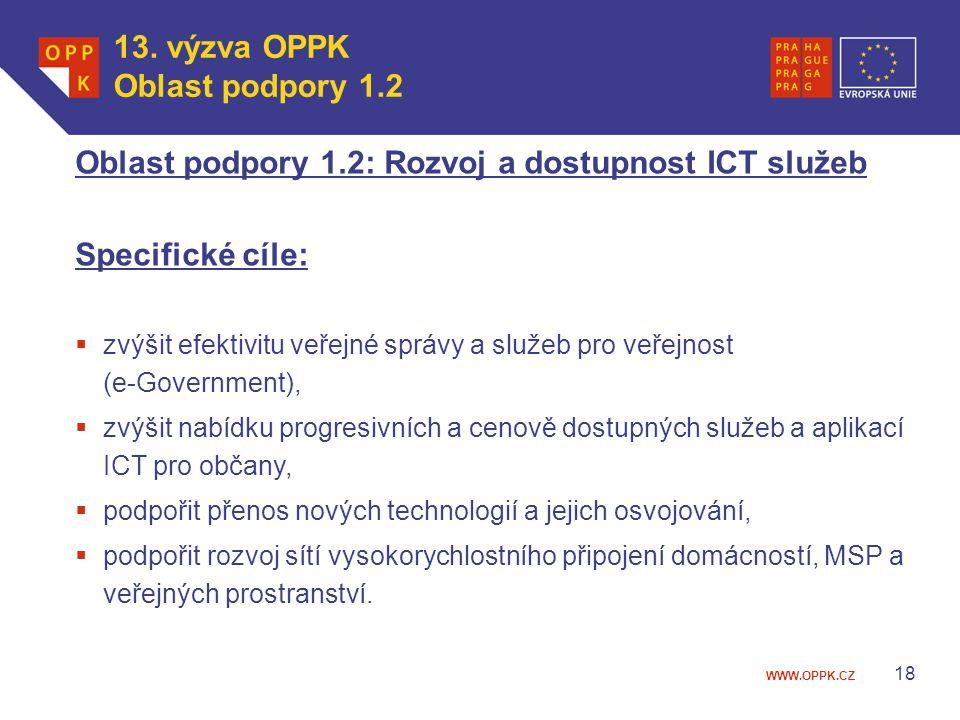 Oblast podpory 1.2: Rozvoj a dostupnost ICT služeb Specifické cíle: