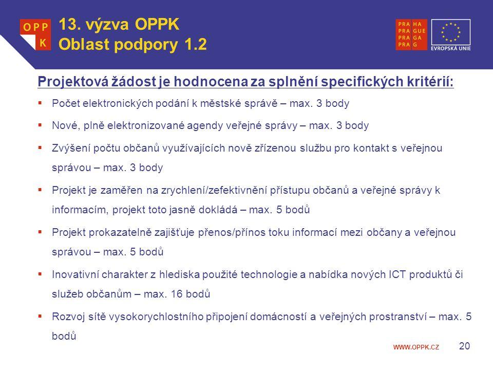13. výzva OPPK Oblast podpory 1.2
