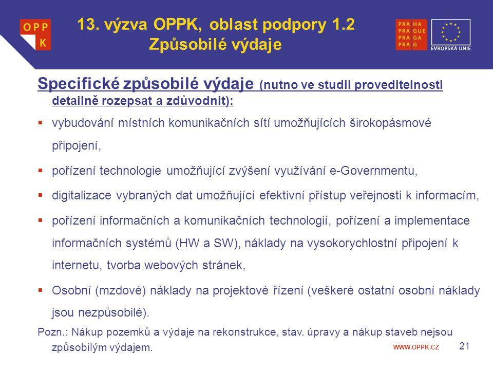13. výzva OPPK, oblast podpory 1.2 Způsobilé výdaje
