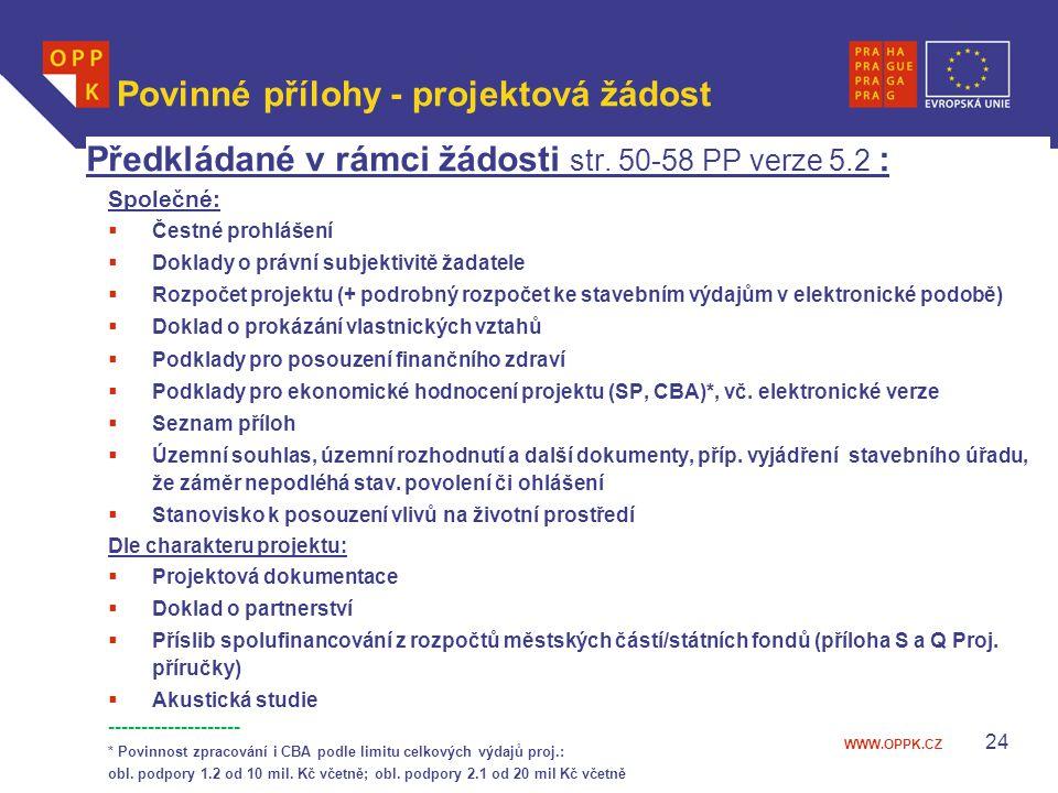 Povinné přílohy - projektová žádost