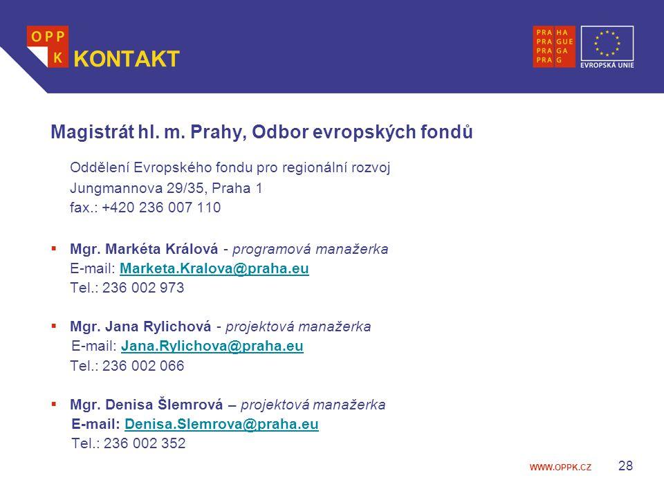 KONTAKT Magistrát hl. m. Prahy, Odbor evropských fondů