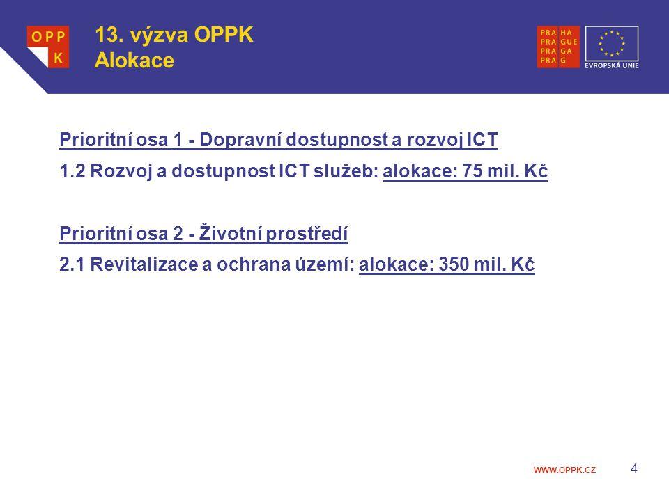 13. výzva OPPK Alokace Prioritní osa 1 - Dopravní dostupnost a rozvoj ICT. 1.2 Rozvoj a dostupnost ICT služeb: alokace: 75 mil. Kč.