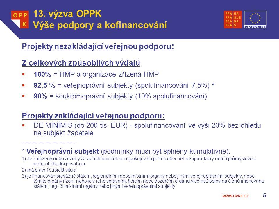 13. výzva OPPK Výše podpory a kofinancování