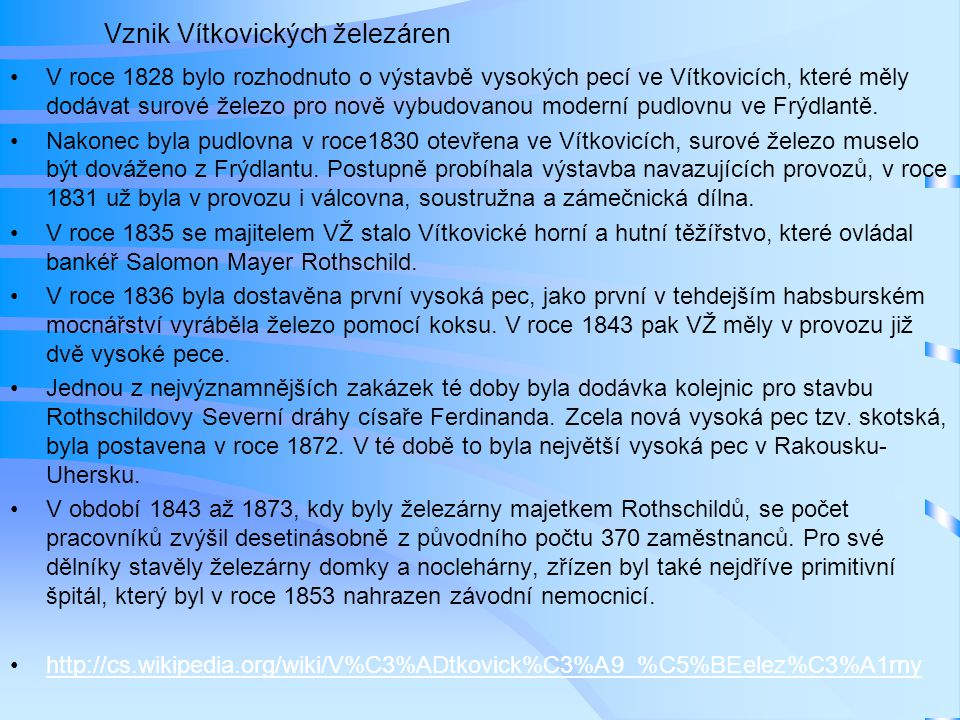 Vznik Vítkovických železáren