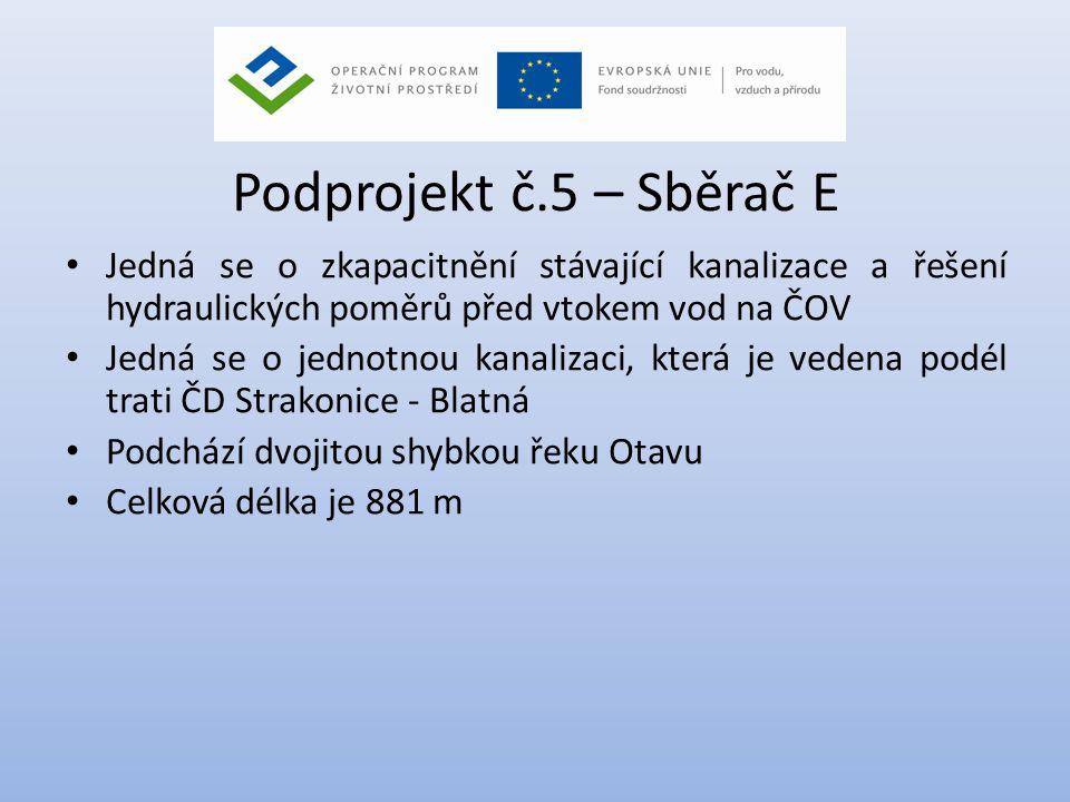 Podprojekt č.5 – Sběrač E Jedná se o zkapacitnění stávající kanalizace a řešení hydraulických poměrů před vtokem vod na ČOV.