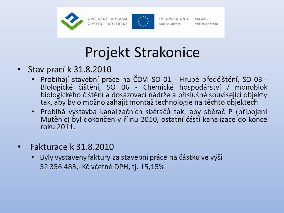 Projekt Strakonice Stav prací k 31.8.2010 Fakturace k 31.8.2010