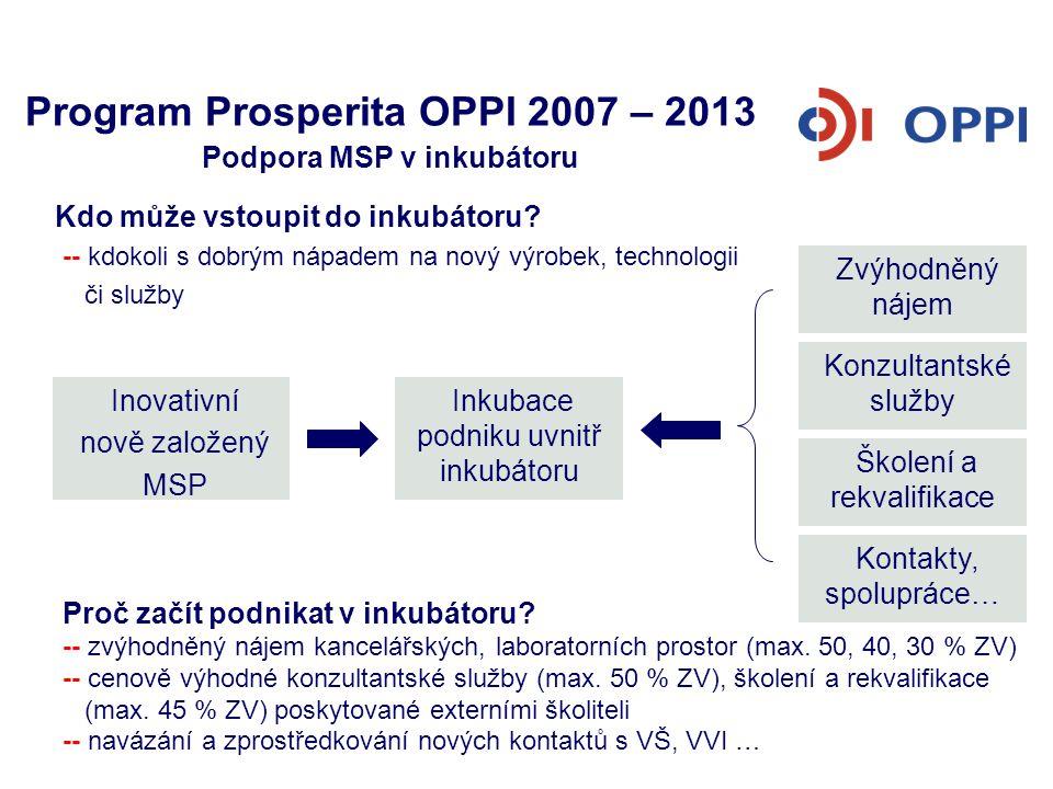 Program Prosperita OPPI 2007 – 2013 Podpora MSP v inkubátoru