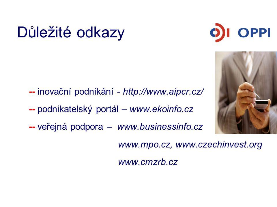 Důležité odkazy -- inovační podnikání - http://www.aipcr.cz/