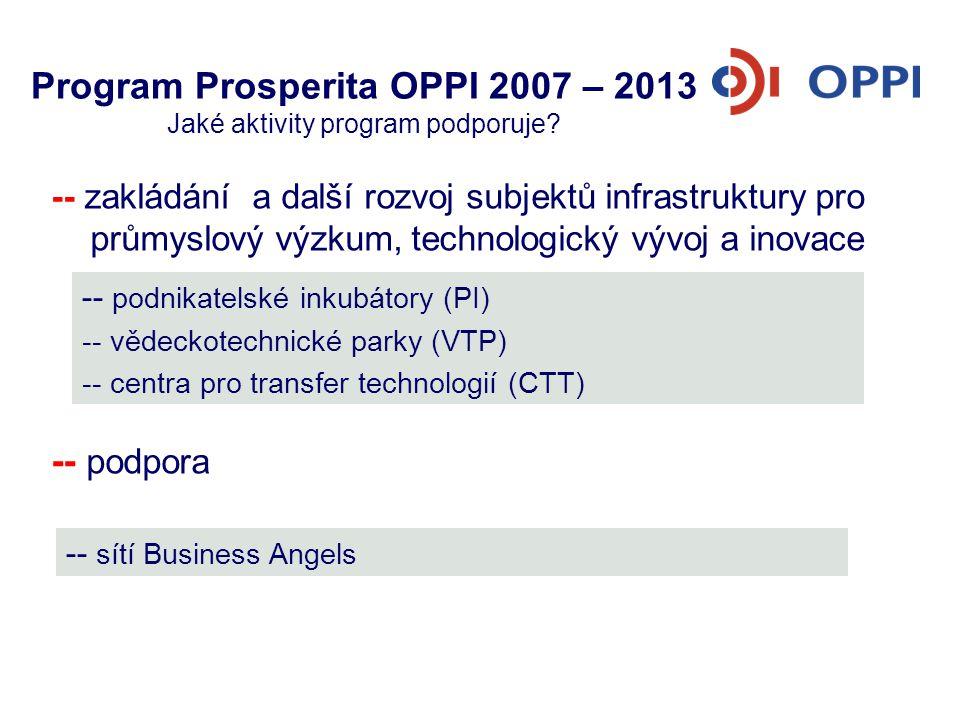 Program Prosperita OPPI 2007 – 2013 Jaké aktivity program podporuje