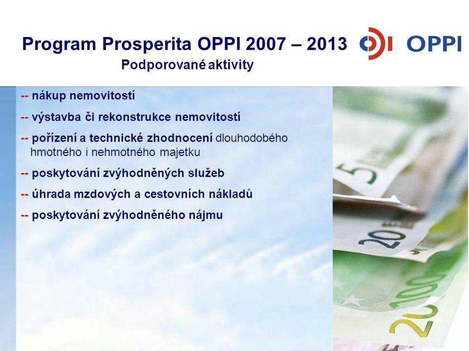 Program Prosperita OPPI 2007 – 2013 Podporované aktivity