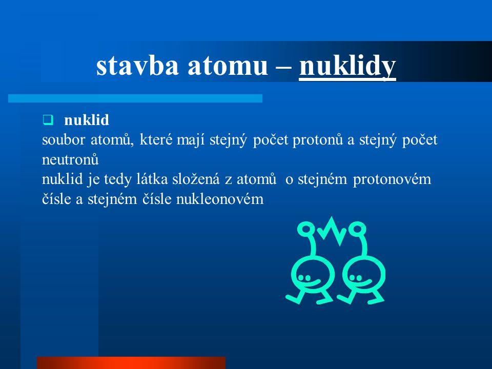 stavba atomu – nuklidy nuklid. soubor atomů, které mají stejný počet protonů a stejný počet. neutronů.