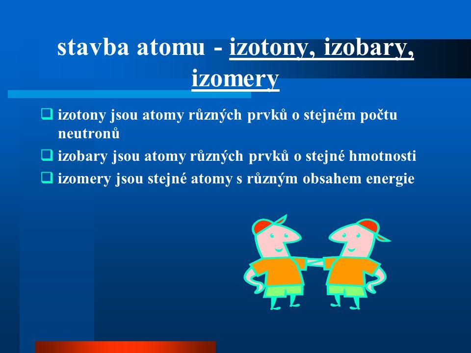 stavba atomu - izotony, izobary, izomery