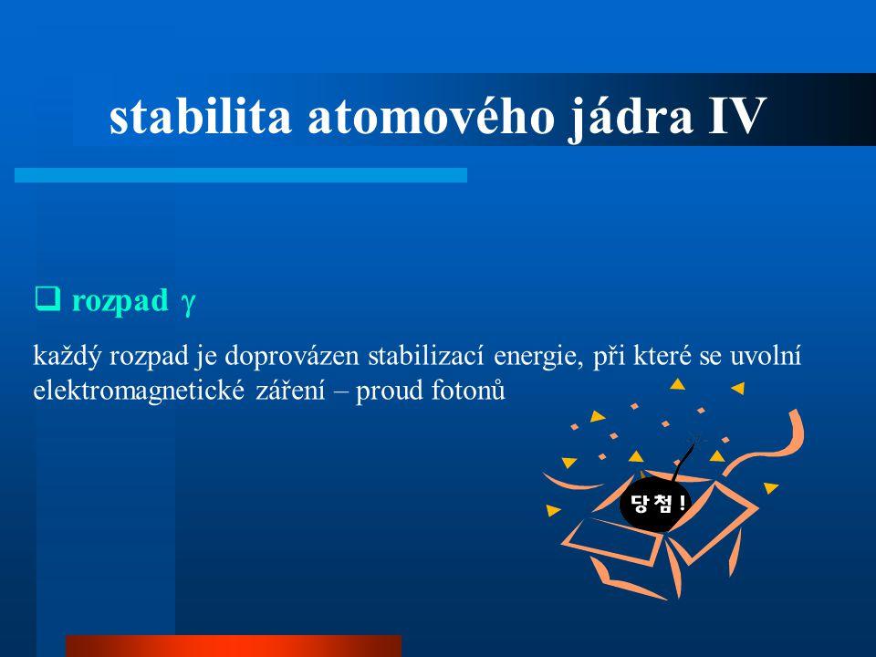 stabilita atomového jádra IV