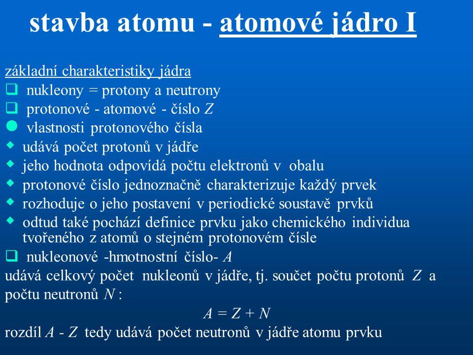 stavba atomu - atomové jádro I
