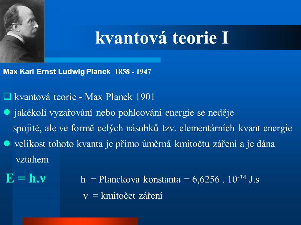 kvantová teorie I kvantová teorie - Max Planck 1901