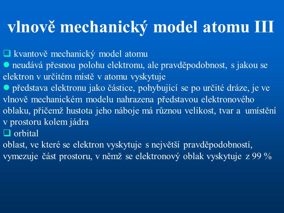 vlnově mechanický model atomu III