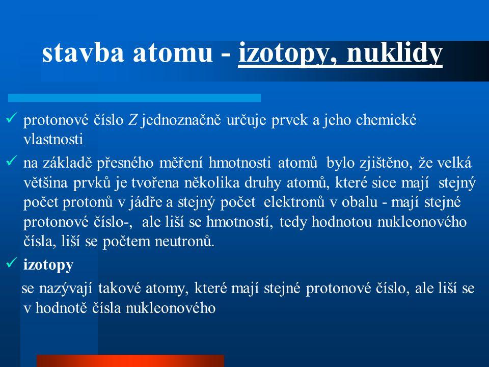 stavba atomu - izotopy, nuklidy