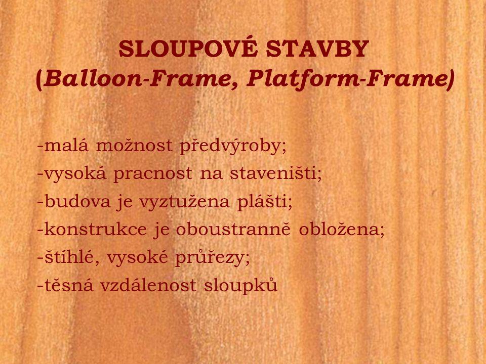 SLOUPOVÉ STAVBY (Balloon-Frame, Platform-Frame)