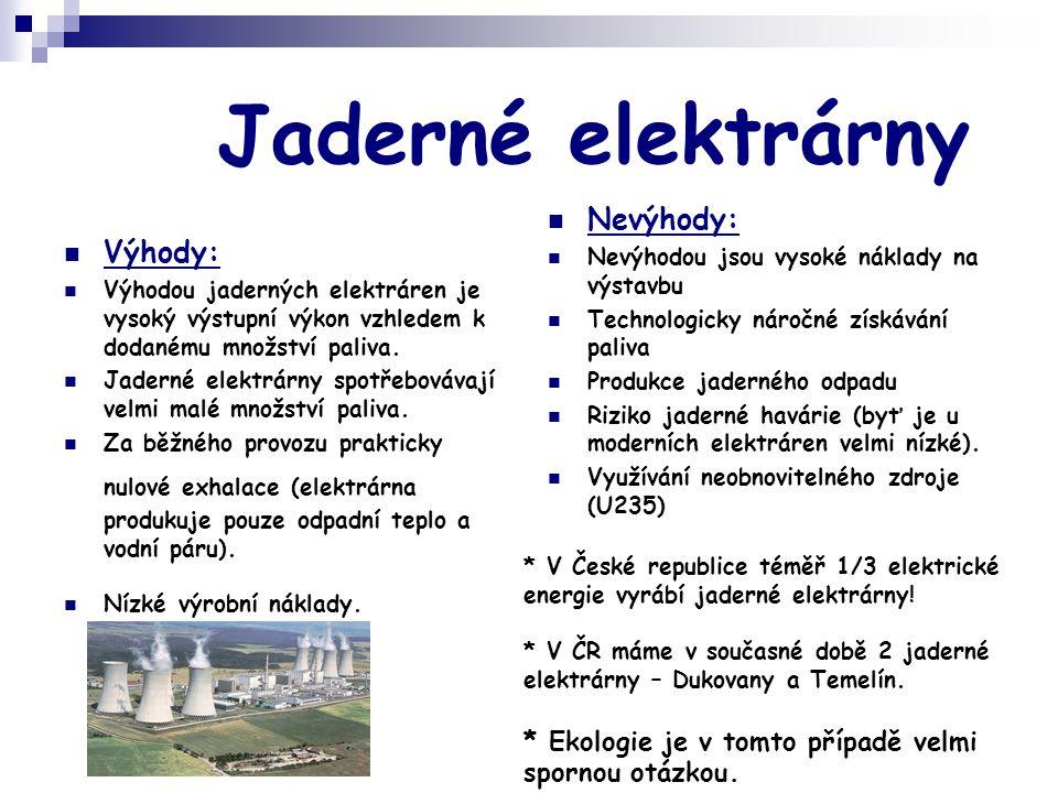 Jaderné elektrárny Nevýhody: Výhody: