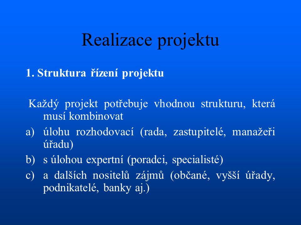 Realizace projektu 1. Struktura řízení projektu
