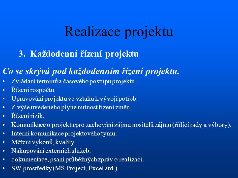 Realizace projektu 3. Každodenní řízení projektu