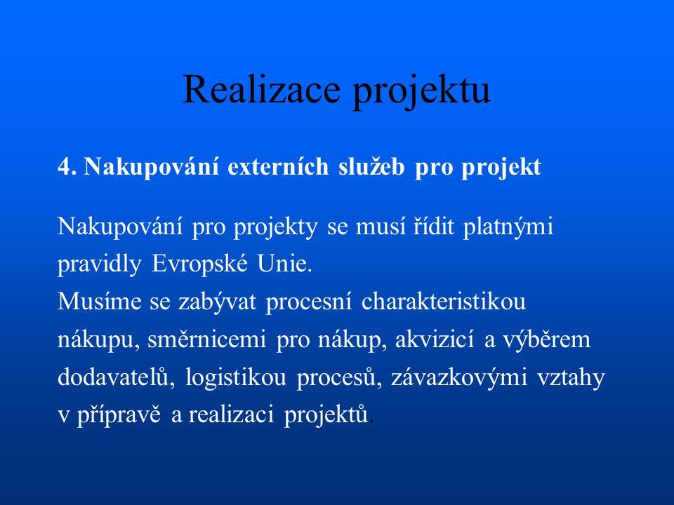 Realizace projektu 4. Nakupování externích služeb pro projekt