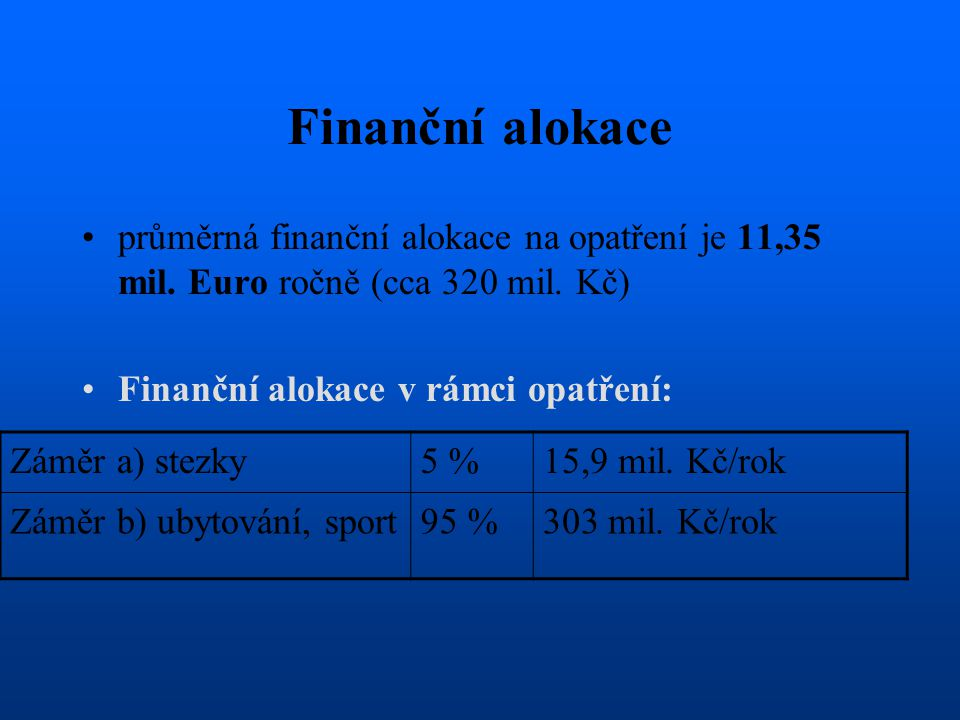 Finanční alokace průměrná finanční alokace na opatření je 11,35 mil. Euro ročně (cca 320 mil. Kč) Finanční alokace v rámci opatření:
