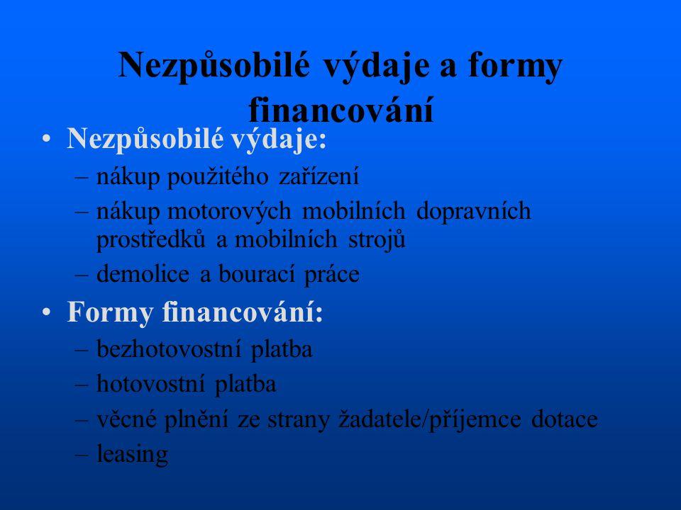 Nezpůsobilé výdaje a formy financování