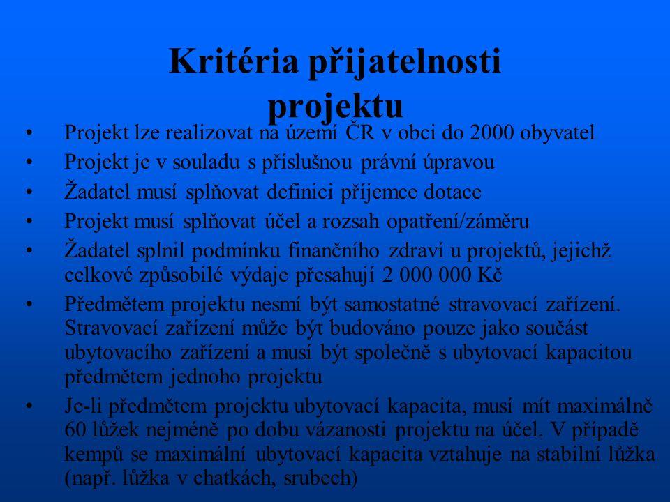 Kritéria přijatelnosti projektu